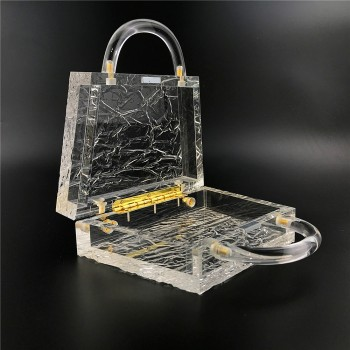 Clear Acrylic Box Evening Bag Women 2020 Summer Top Handle Dinner Clutch Purses Ladies Transparent Crystal Handbag High Quality